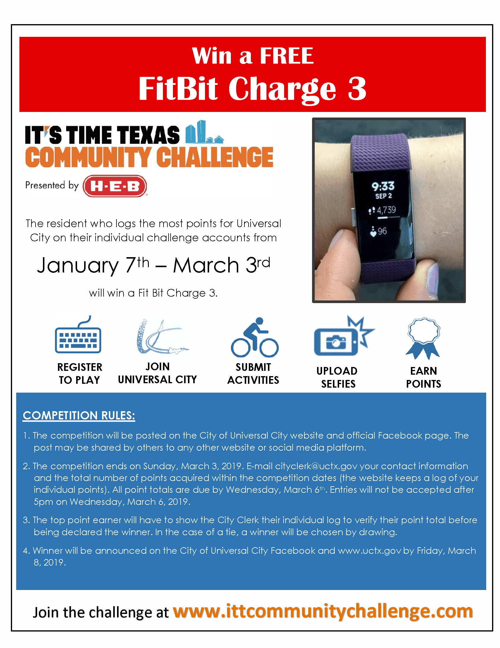 2019 ITT UC Resident Challenge Flyer describing rules and picture of fitbit